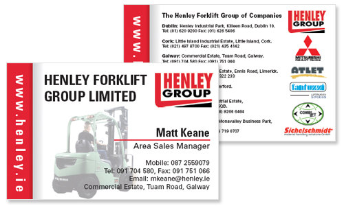 Business cards dublin sample portfolio business card sample for forklift company in dublin reheart Image collections