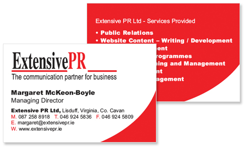 Business cards dublin sample portfolio business card for pr company colourmoves Choice Image