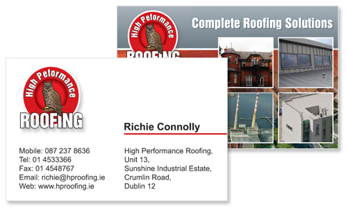 Business cards dublin sample portfolio great sample of business card design for roofing company reheart Choice Image